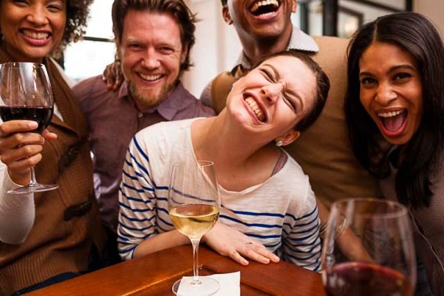 Friends at a wine bar
