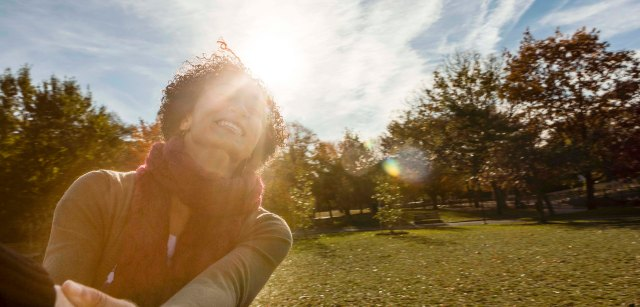 A hispanic young women at a park in Philadelphia.